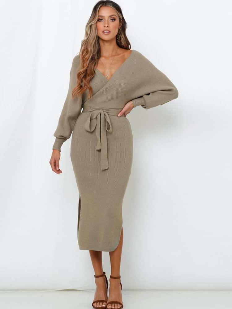 Eva Wrap Sweater Dress