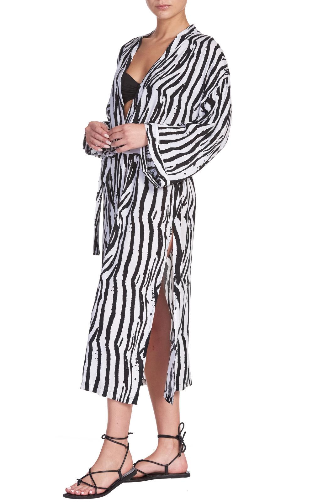 Elan Aria Draped Zebra Kimono