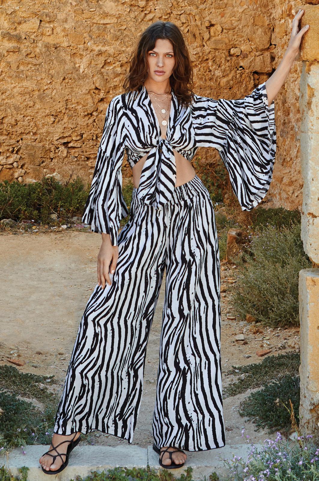 Rachel Bell Sleeve Zebra Tie Front Top