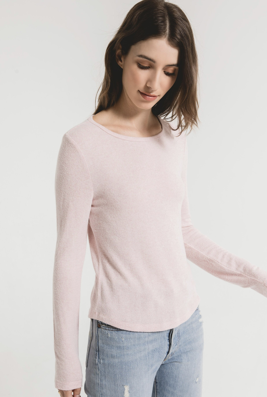 Z Supply Marled Fitted Top - Pale Blush