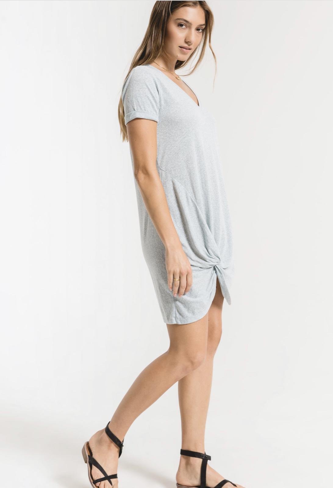 Z Supply NEW! Blue Fade Tri-Blend Side Knot Dress