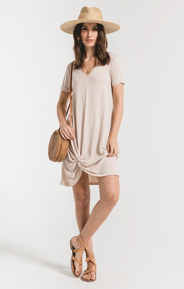 Z Supply NEW! Sand Tri-Blend Side Knot Dress
