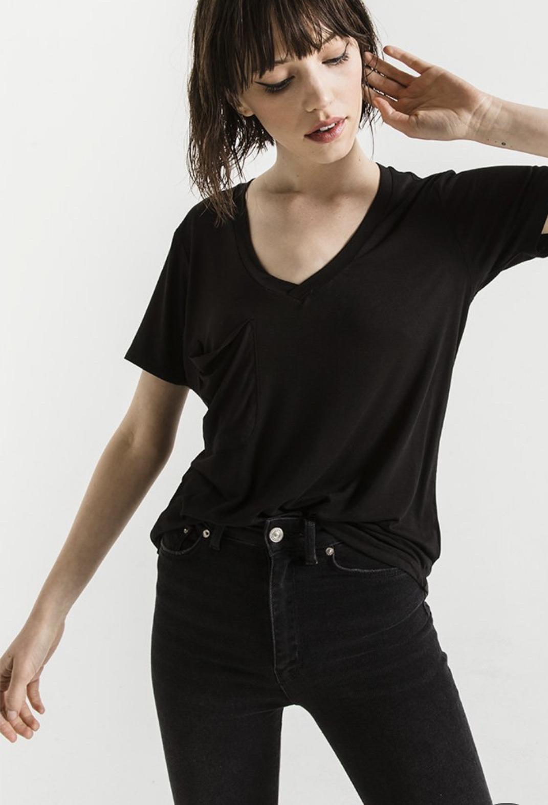 Z Supply The Sleek Jersey Pocket Tee Black
