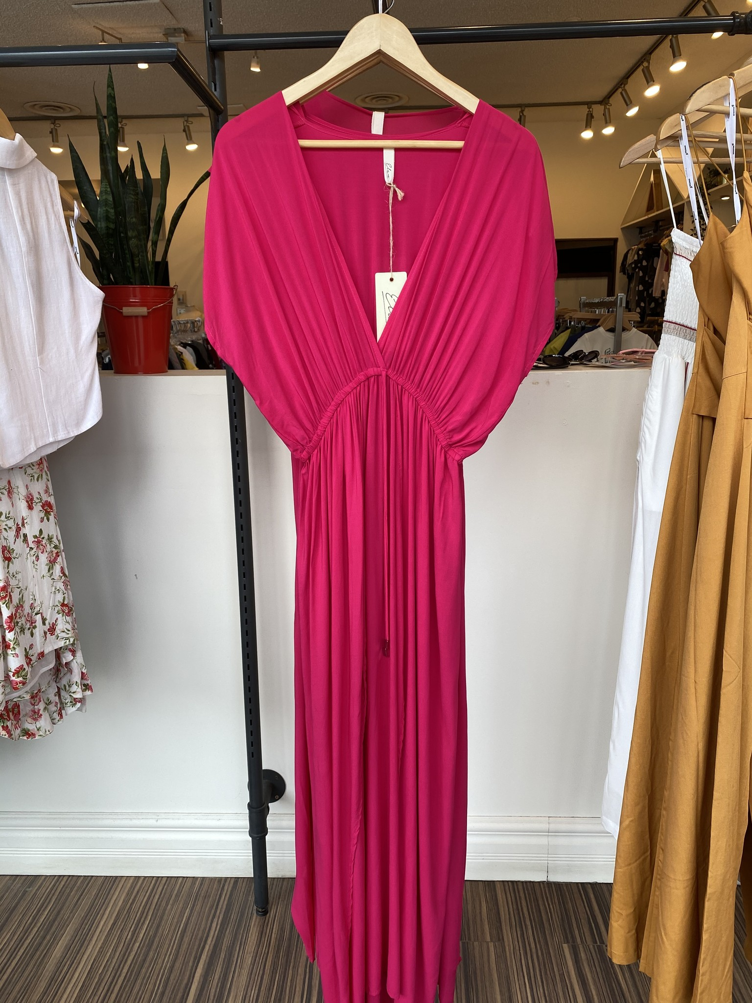 Elan Lily Deep V Maxi Dress - Fuchsia