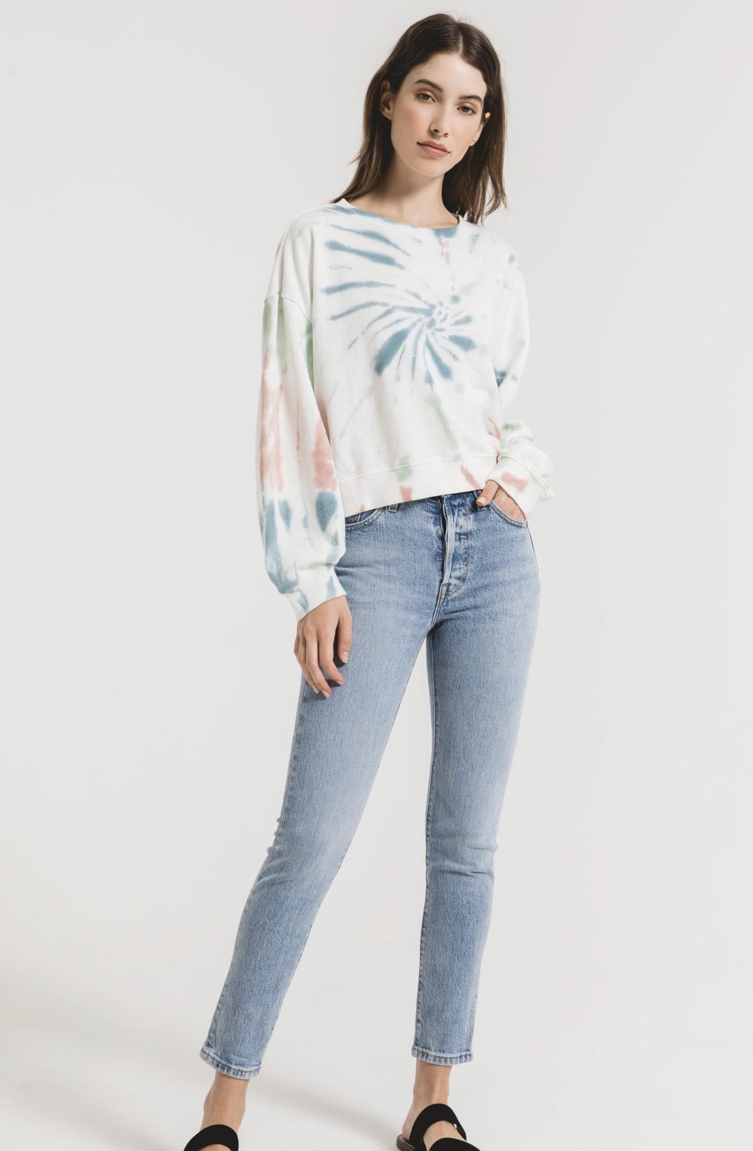 Z Supply Multi Color Tie-Dye Pullover  - Desert White