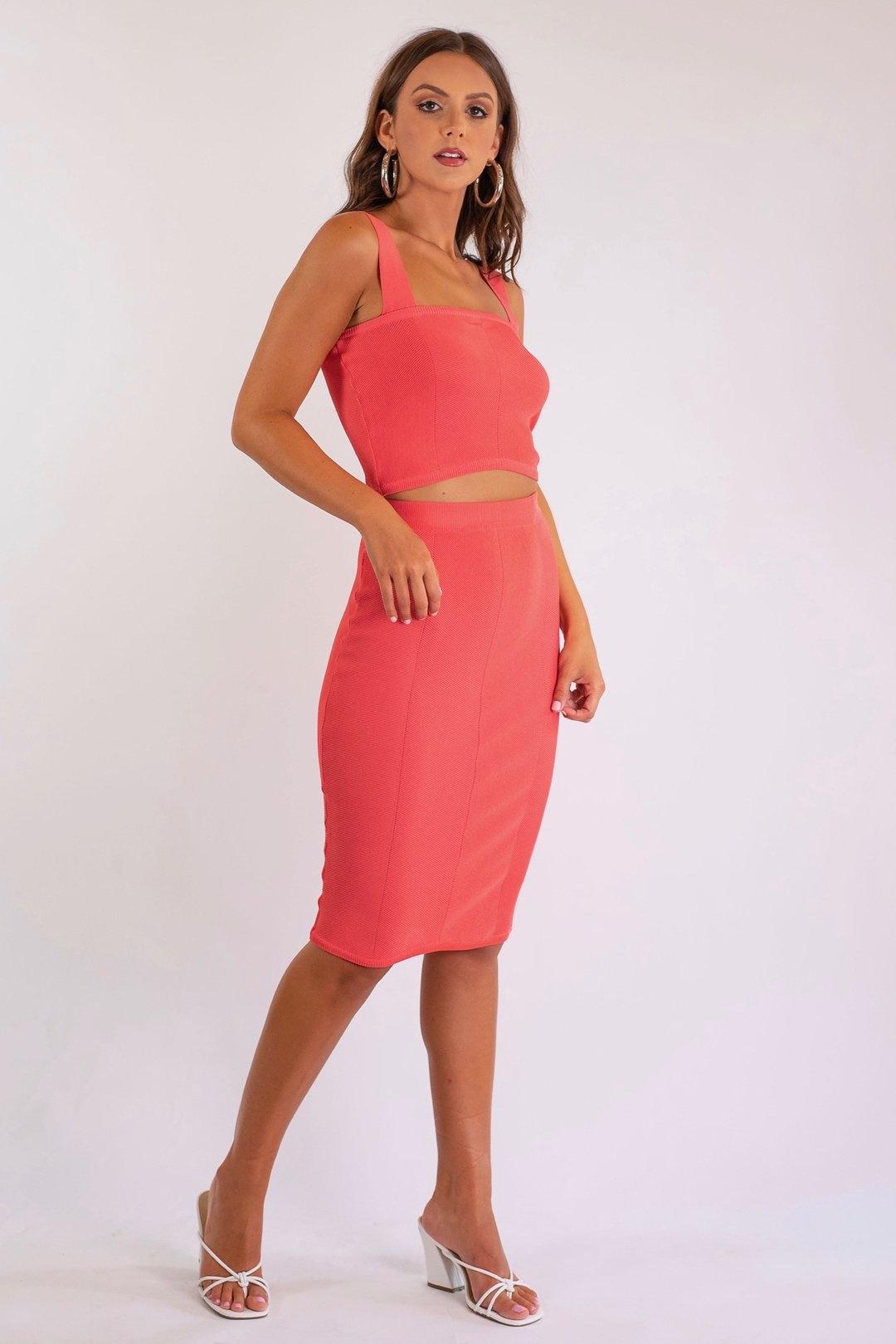 Mink Pink Chevron Knit Skirt