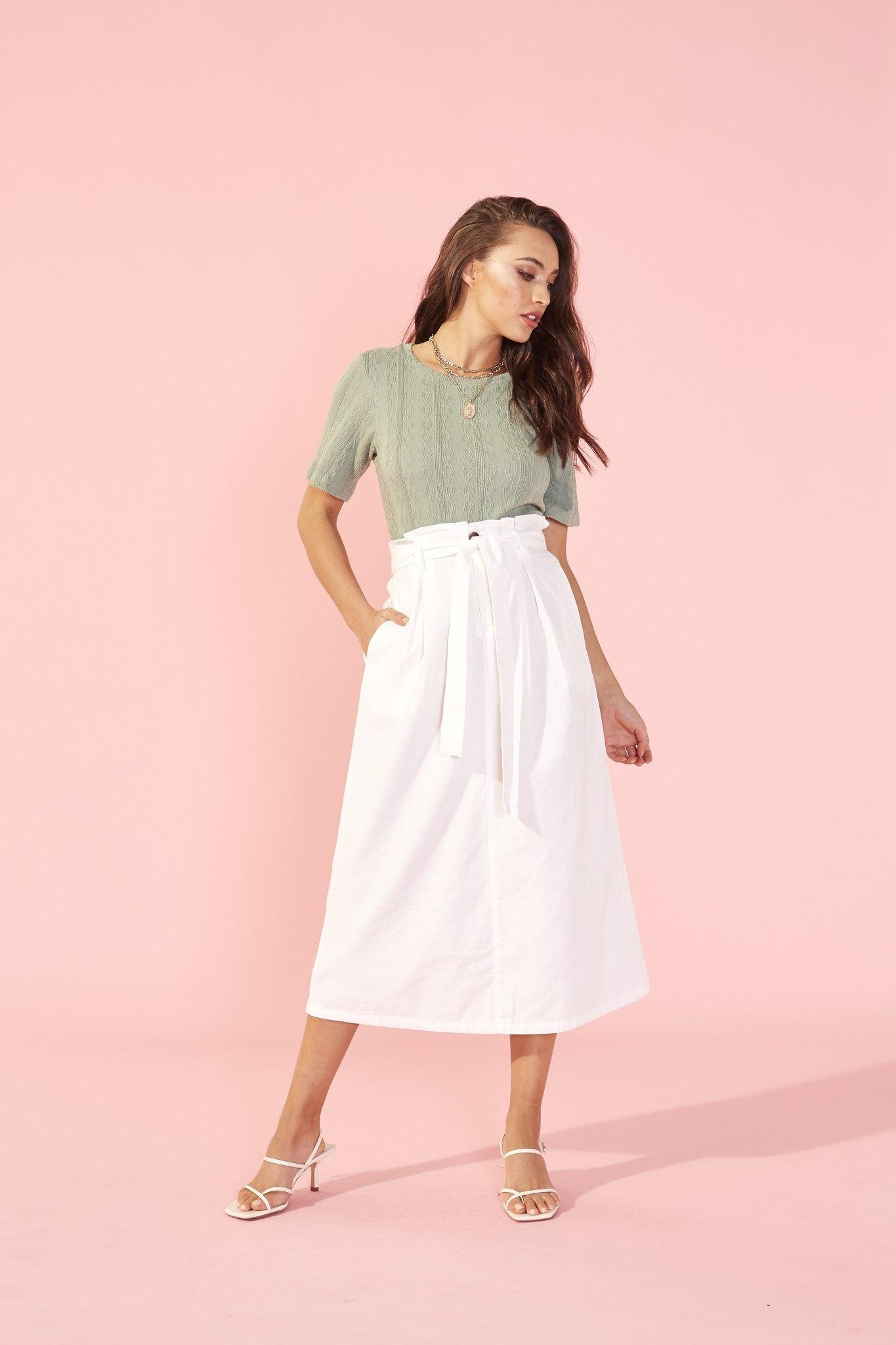 Mink Pink VIvienne Box Pleat Midi Skirt