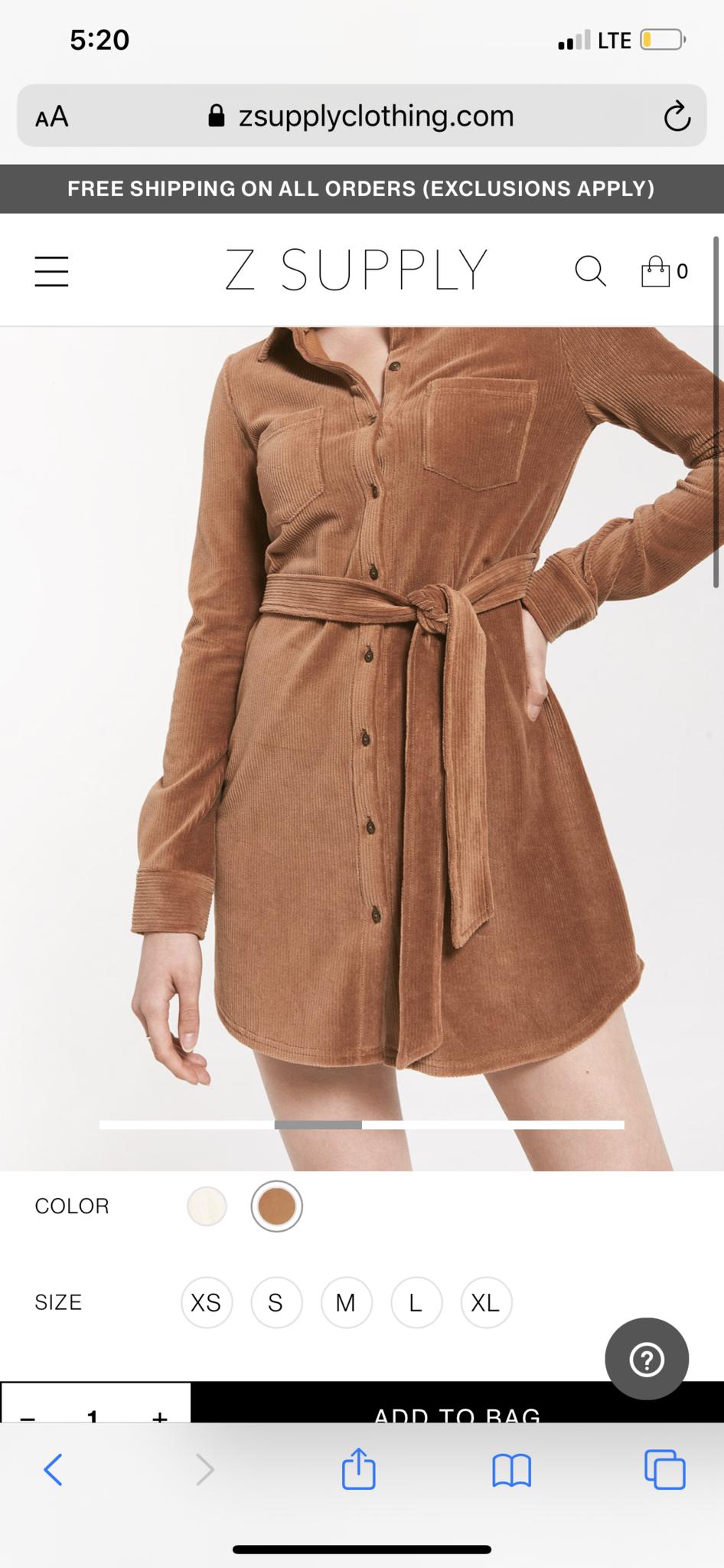 Z Supply Emelyn Cord Dress