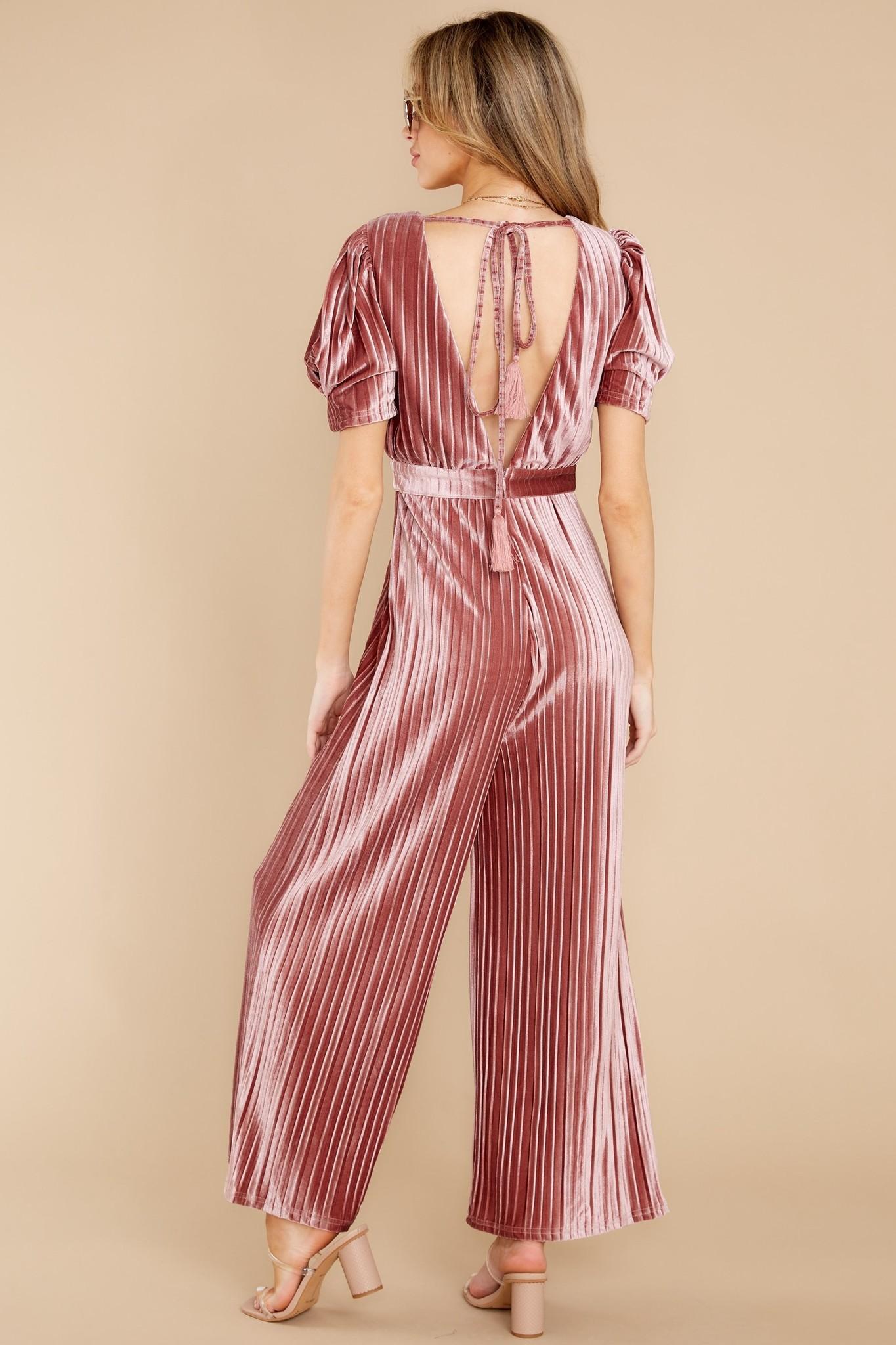 Mink Pink Cordelia Velvet Pleated Jumpsuit