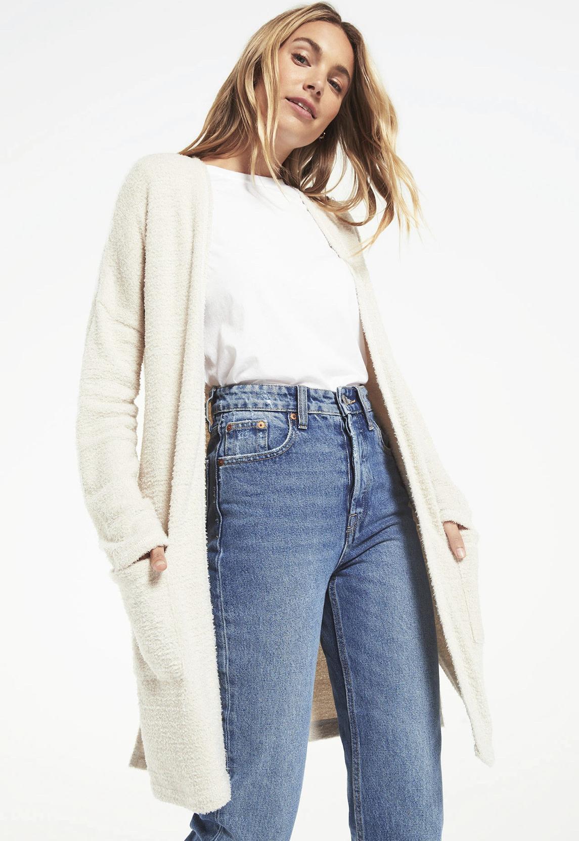 Z Supply Remi Feather Knit Cardi - Ivory