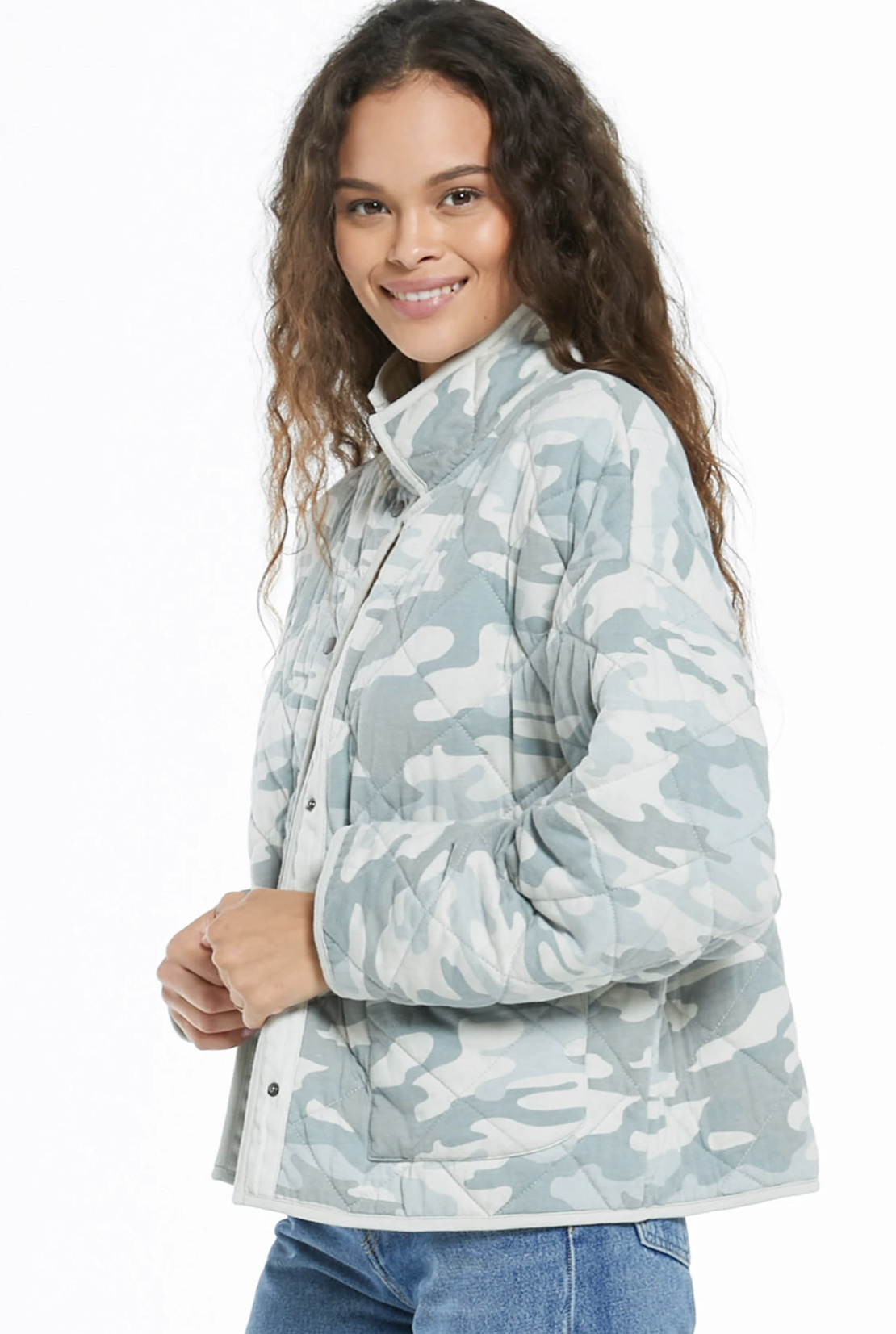Z Supply Maya Quilted Jacket - Dusty Sage Camo