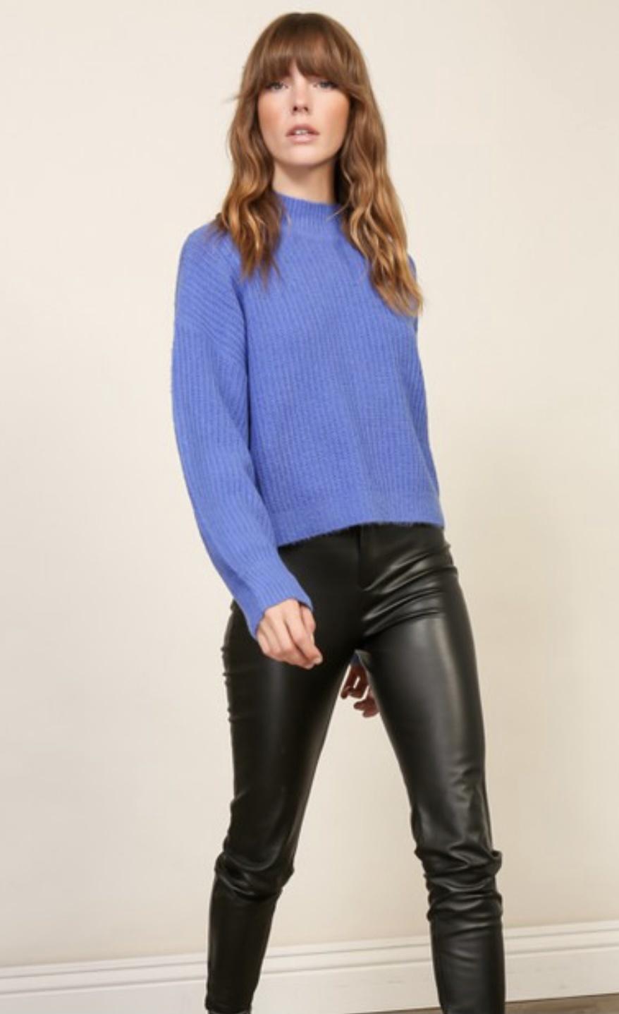 Lumiere Azure Mock Neck Pullover