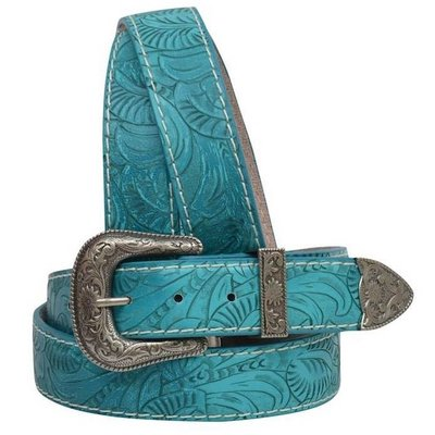 3D Torquoise Tooled Belt 6247