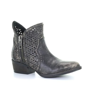 Corral Black - Grey Cutout Short Boot Q0001