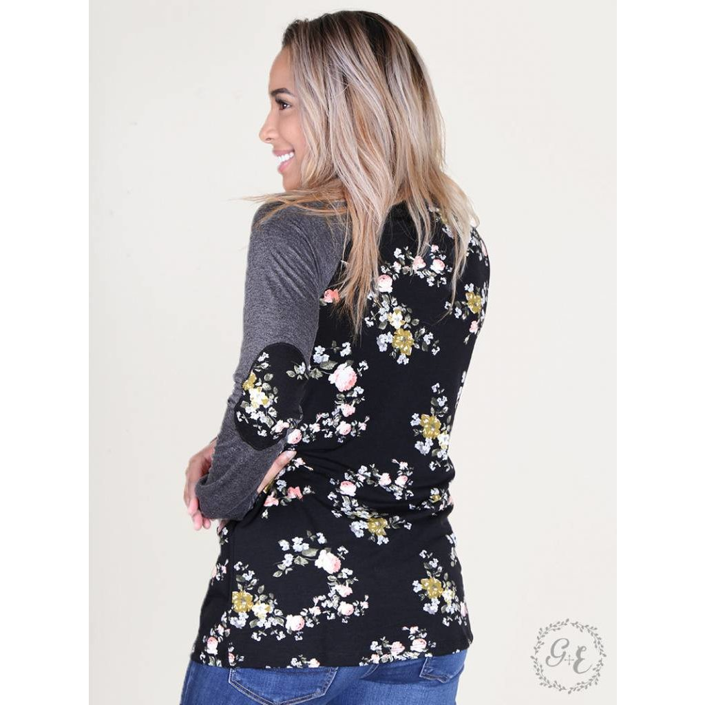 Floral Longsleeve Tee with Elbow Patches