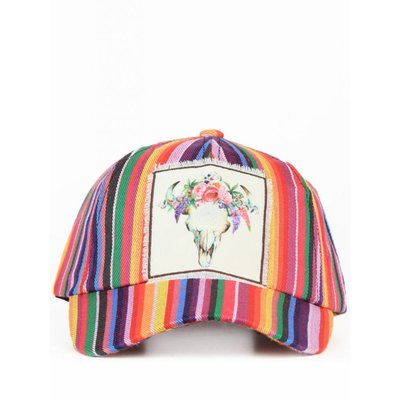 Floral Bull Skull on Fiesta Striped Hat