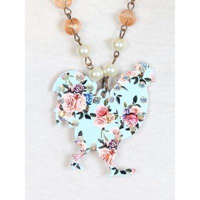 Light blue Floral Rooster Necklace, Copper