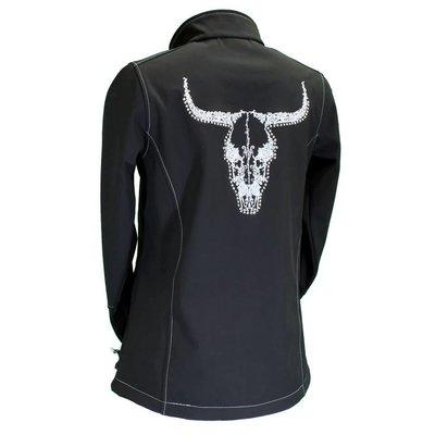 Cowboy Hardware Vine Skull Poly Shell Jacket Black