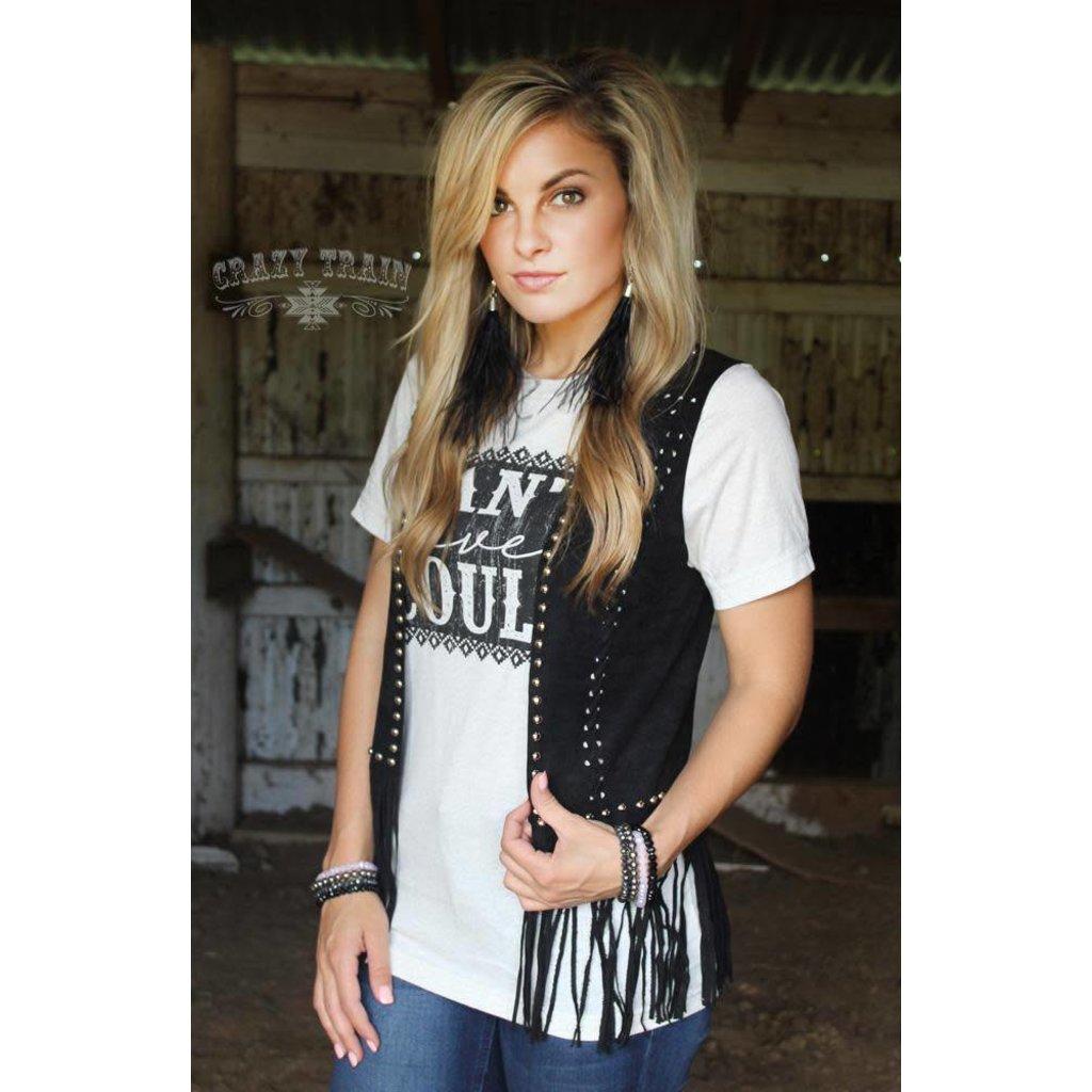Crazy Train Clothing Short Studded Fringe Vest OS