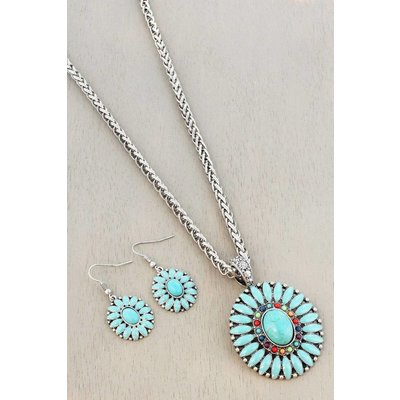 Turquoise SW Floral Jewelry Set