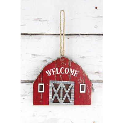 Welcome Wood Barn Hanging Decor
