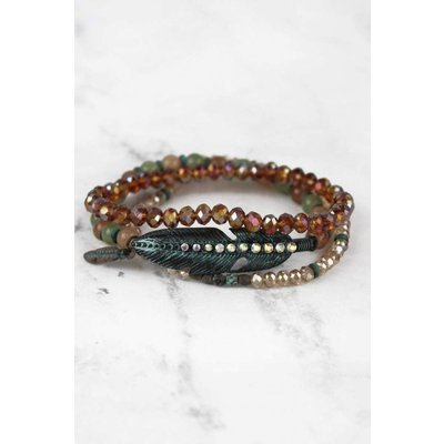 Iridescent Beaded Stacked Stretch Bracelet