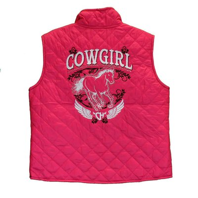 Cowboy Hardware Youth Cowgirl Horse Quilted Vest