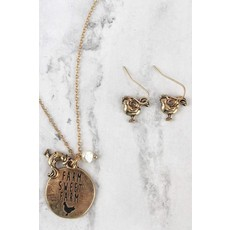 Worn Goldtone Farm Jewelry Set