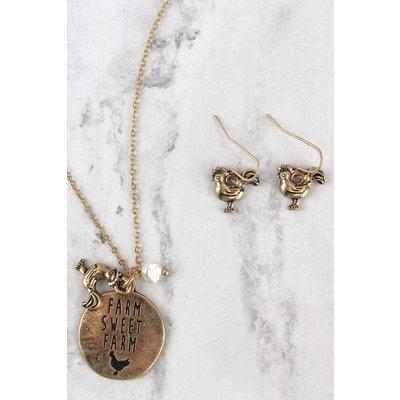 Worn Goldtone Farm Jewelry Set