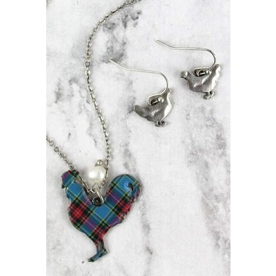 Perfectly Plaid Necklace & Earring Set