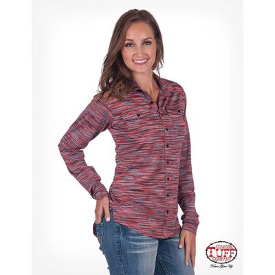 Cowgirl Tuff Sunset Stripe Sport Jersey Faux Button-Down