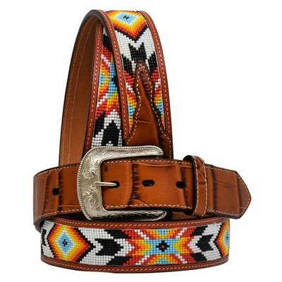 3D Brown Beaded Men's Western Fashion Belt - 8896
