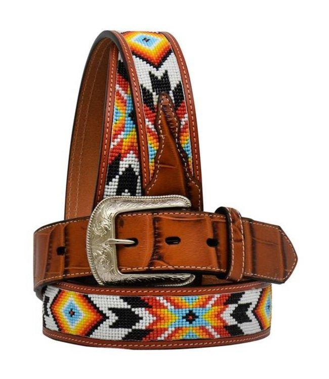 Brown Beaded Men's Western Fashion Belt - 8896