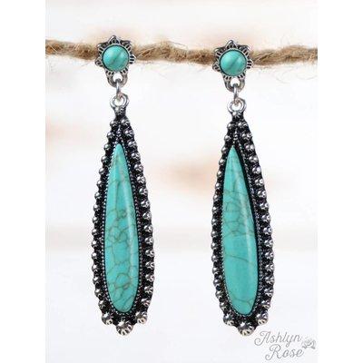 Western Turquoise Tear Drop Earrings