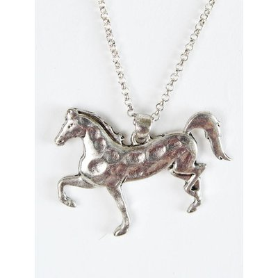 Silver Hammered Pendant Necklace