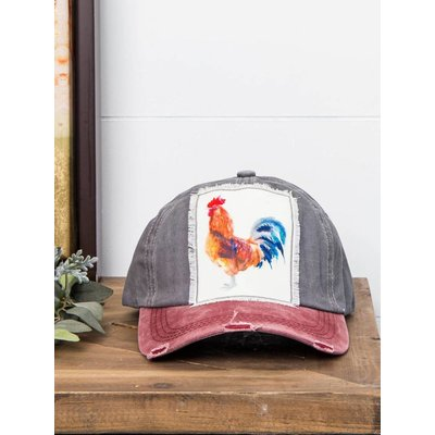 Watercolor Rooster Cap