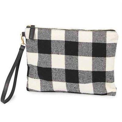 Fabric Plaid Zippered Bag