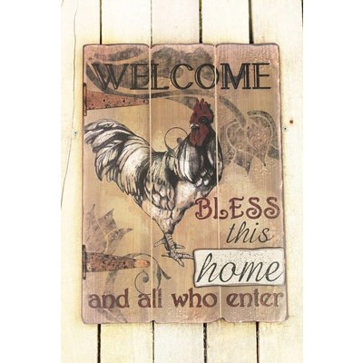 20 x 14.25 'Welcome' Rooster Wood Wall Sign