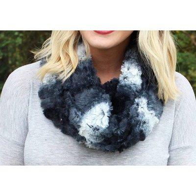 Winter Ombre Faux Fur Infinity Scarf, Black