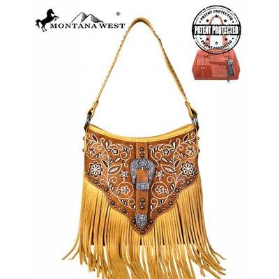 Floral Tooled Fringe Handbag