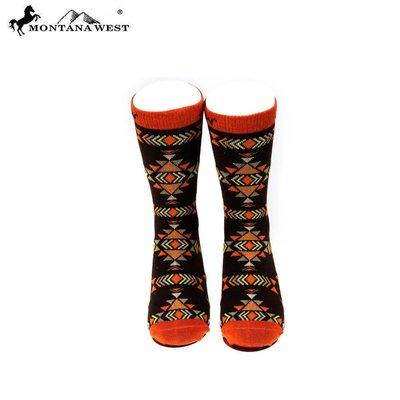 Orange Aztec Pattern Sock