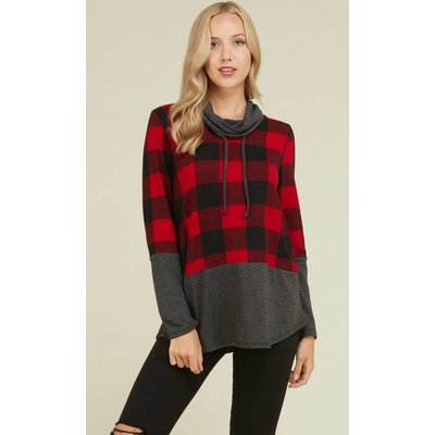 Buffalo Plaid Cowl Neck
