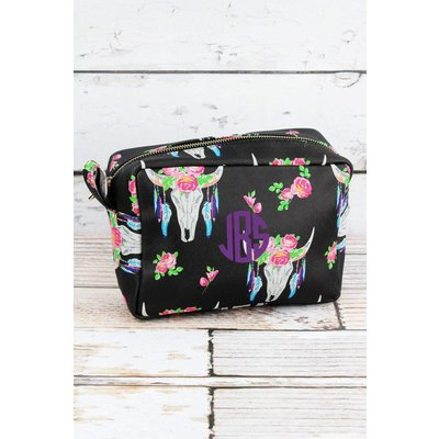 Free Spirit Steer Faux Leather Cosmetic Bag