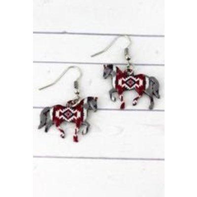 Printed Southwest Horse Earring