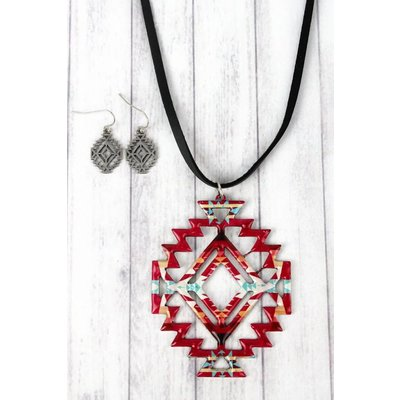 Southwest Printed Necklace & Earring Set