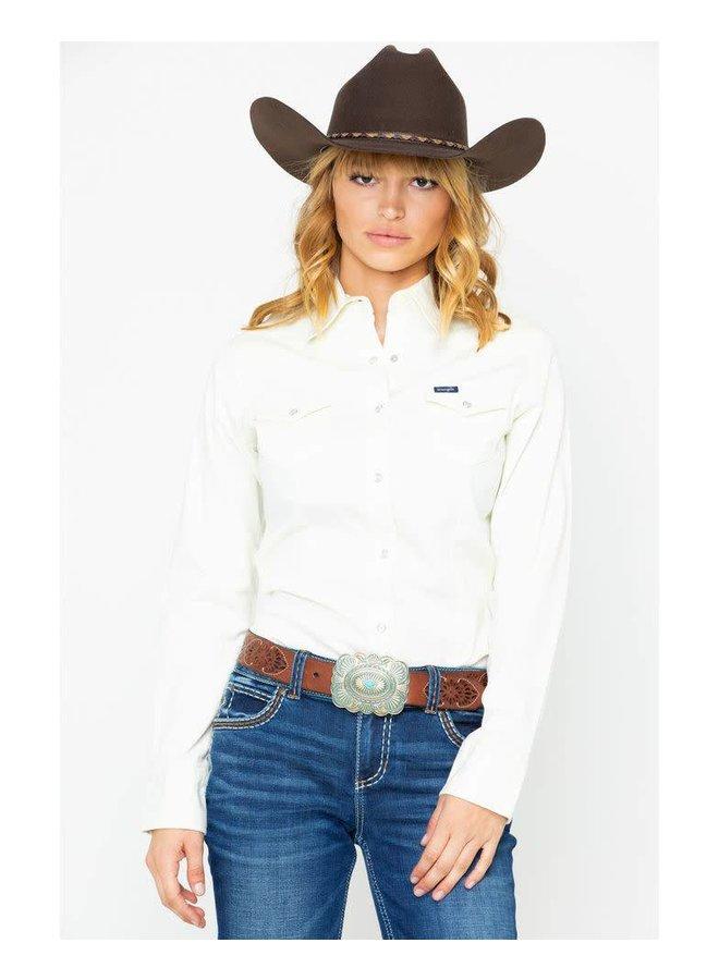 Wrangler Women's Ivory Snap Long Sleeve Western Shirt