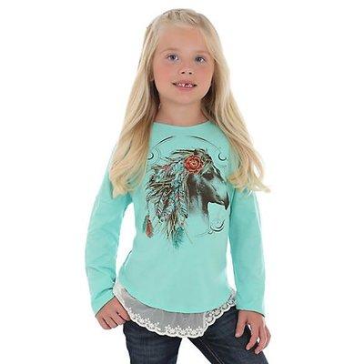 Wrangler Girl's LS Horse Lace Hem Shirt GWK184B