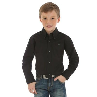 Wrangler Kid's Classic Solid Western Shirt