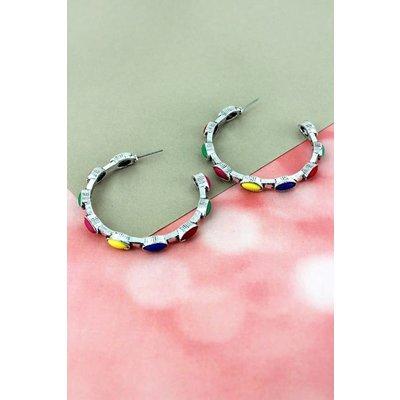 Multi-Color Oval Stone Hoop Earrings