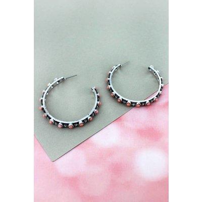 Pink Stone Beaded Hoop Earrings